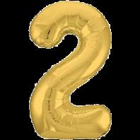 Цифра из фольги золото 2