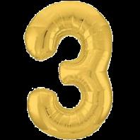 Цифра из фольги золото 3