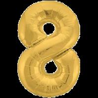 Цифра из фольги золото 8