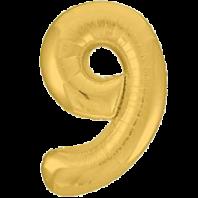 Цифра из фольги золото 9