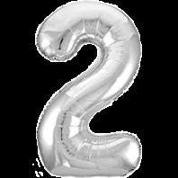 Цифра из фольги серебро 2