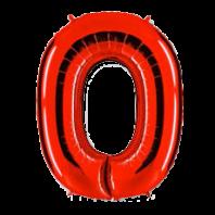 Цифра из фольги красный 0