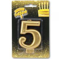 Свеча -цифра «5» Золотая 8см/V
